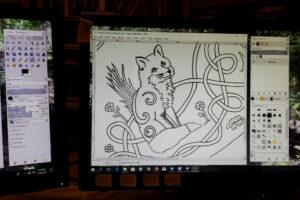 fox art in progress on computer screen.